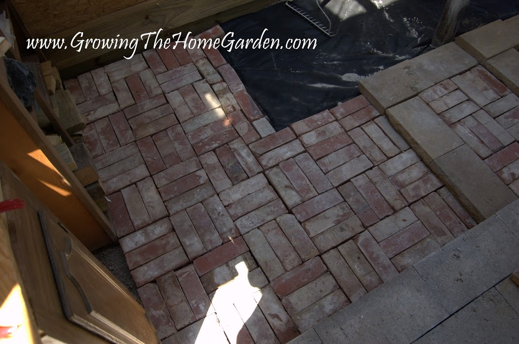A brick floor in the garden shed growing the home garden for Brick garden shed designs