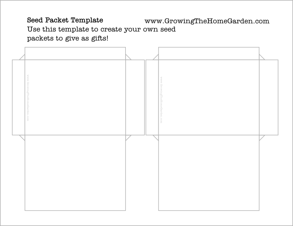 free seed packet template basic growing the home garden. Black Bedroom Furniture Sets. Home Design Ideas