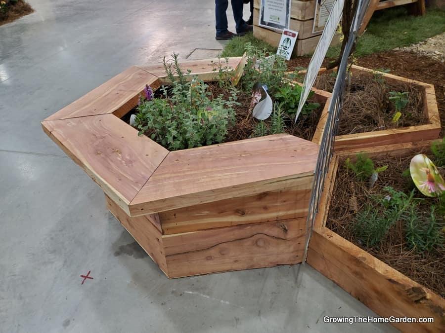 hexagonal raised bed made of cedar