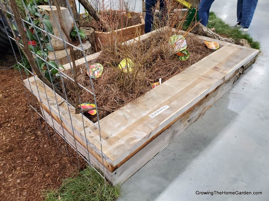 cedar raised bed with seating bench